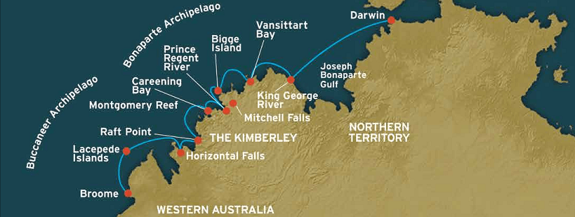 Map of Coral Expeditions Cruises - Kimberley Expedition
